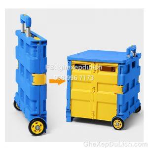 Thùng Nhựa Xe Hơi Kết Hợp Xe Đẩy Đi Chợ, Ghế Ngồi Đa Năng Có Thể Gấp Gọn